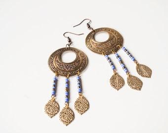 Dangle earrings boho jewelry. Dangle gipsy earrings. Gipsy jewelry. Blue gold beaded jewelry. Ethno jewelry earrings.