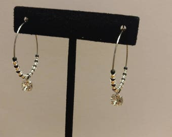 Black Japanese Glass Seed Bead and Czech Glass, Stainless Steel Hoop Earrings with Swarkofski Element