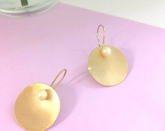 Goldsmith sphere earrings Goldsmith handmade jewelry Gold pearl earrings Dangle earrings Bridal earrings Wedding jewelry Freshwater pearls