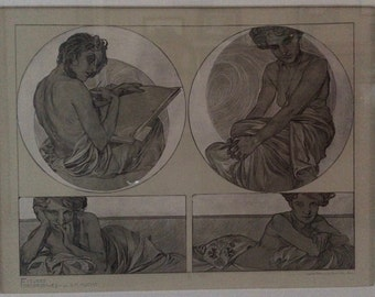 "Alphonse Mucha ""Figures Decoratives"" print"