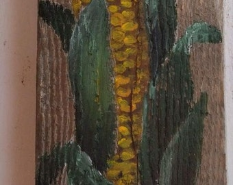 Wood, old wood Board, acrylic paints, corn on the COB