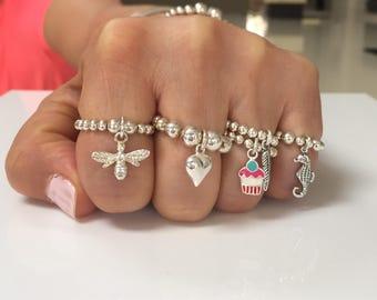 Beaded charm rings