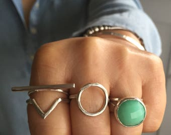 Green Chrysoprase ring. This chunky ring is handmade using sterling silver.