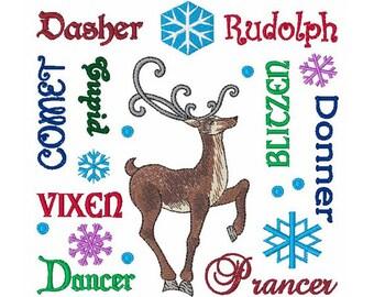 Reindeer Names - Machine Embroidery Design