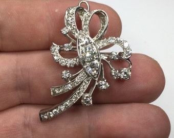 Estate Vintage 14K White Gold Old European Diamond Ribbon Pendant Brooch 8 Grams