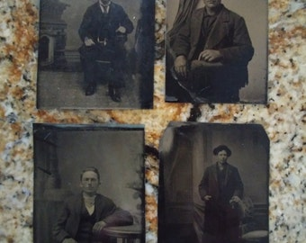 Male Solos:  Lot of 4 Antique Tintype Photographs of individual portraits of males