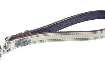 Bella K9 Bling WHITE with Brown Stich & Edging BIG Dog Lead Leash
