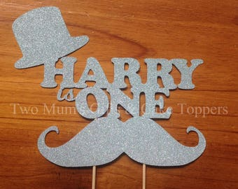 Personalised Custom Birthday Cake Topper - Name and Age with Moustache and Top Hat Cake Topper - Cake Smash Topper