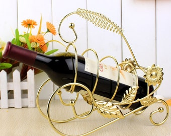 Wine bottle stand, COPPER, Wine Rack, Metal Wine Stand, Real Wine Bottle Holder, Home/Bar Decor, Collectible
