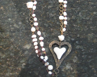 "Vintage signed ""Luna"" heart with freshwater pearls necklace/antique bronze,copper & brown"