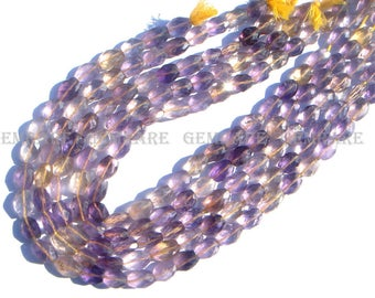Oval Faceted Beads in Ametrine Beads, Quality B, 7.50x8.50 to 7.50x11 mm, 36 cm, 30 pieces, AMETRI-003/1, Semiprecious Gemstone Beads