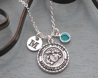 Personalized Marine Corps Necklace, Marine Corps Necklace, Silver Marine Corps Necklace, Initial Necklace, Marine Corps Mom Gifts, Custom