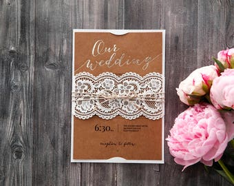 Charming Rustic Wedding Invitation, Lace Band, Foil Font and Sweet Twine Bow 115084