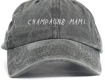Champagne Mami Unstructured Baseball Dad Hat Cap New - Black Denim