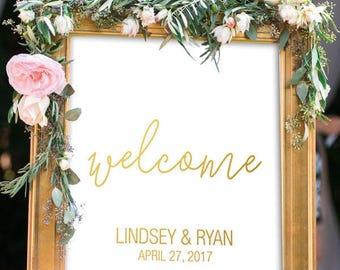 Modern Wedding Welcome Sign   Gold Wedding Welcome Sign   DIY Wedding Welcome Sign   Custom Wedding Welcome Sign   Personalized Wedding Sign