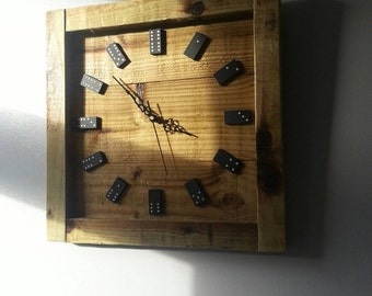 Domino clock, handmade wooden clock. Christmas gift idea.