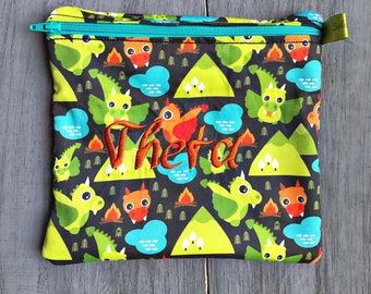 Reusable Sandiwch Bag, Dragons, Organic, Zippered sandwich bag, Snack Bag, Monogrammed Lunch, Large wet bag, washable bag