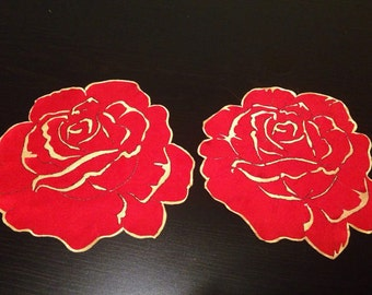 "Valentina's Day. Set of 2 mats "" Red Roses"", Rose Doily, Feng Shui, Table ornamental mats,Home Decor,Food service and etiquette"