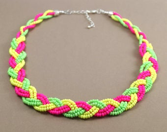 Neon braided bead necklace | Neon jewellery | Neon jewelry | 90s jewelry | 80s jewelry | Neon accessories | Bright necklace | Handmade