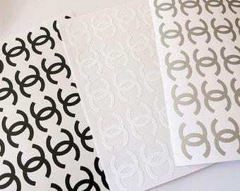 Set of 16 Chanel logo vinyl decal