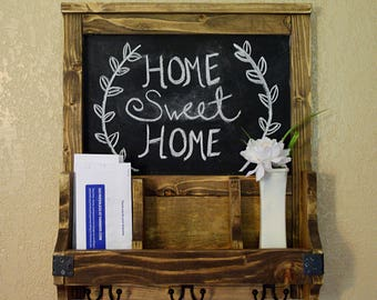 Chalkboard Mail Organizer- Mail Organizer- Farmhouse decor- Rustic Decor- Shabby Chic- Wood Mail Organizer- Wall Mail Organizer