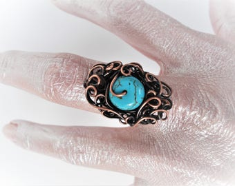 Wire wrapped turquoise ring, Copper Wire Ring, Statement ring, Wire wrapped jewelry, Wire wrapped ring, Artistic ring, Boho ring, Gypsy ring