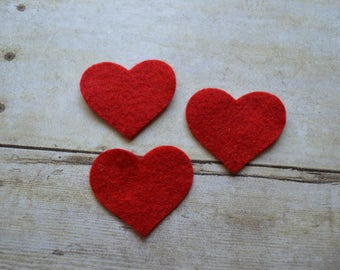 READY TO SHIP, Large Red Acrylic Felt Heart Die Cuts, Set of 10, Die Cut Large Hearts, Scrapbooking, Felt Flower Making, Headband Making
