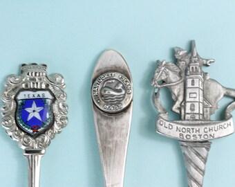 Vintage Collectible Souvenir spoons lot of 3, USA cities, Dallas Texas, Nantucket Island and Boston Mass, PetesNeatOldStuff, gift under 25CA