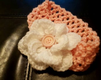 Girls crocheted headband with flower
