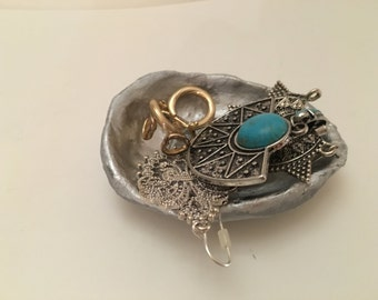 Jewelry plate / silver / jewelry dish /.