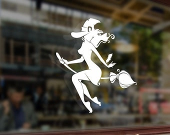 Sexy Witch on broomstick Vinyl Stickers Funny Decals Bumper Car Auto Computer Laptop Wall Window Glass Skateboard Snowboard Helmet