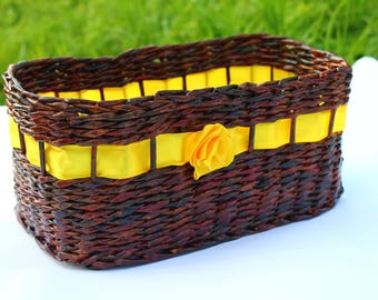 Wicker basket from paper with yellow ribbon Willow basket Handwoven basket Farmhouse rustic Basket purse Storage box