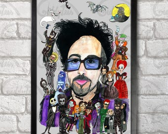 Tim Burton + his characters Poster Print A3+ 13 x 19 in - 33 x 48 cm by hatoola13 Buy 2 get 1 FREE