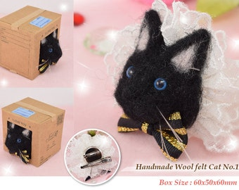Free shipping - Handmade wool felted cat clip No1-3 By SmileSeason.Macy