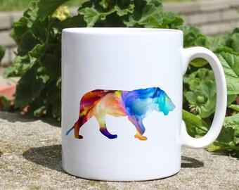 Lion mug - Animal mug - Colorful printed mug - Tee mug - Coffee Mug - Gift Idea