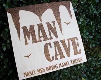 Man Cave wooden laser engraved decor