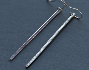 Sterling Silver long hammered earrings