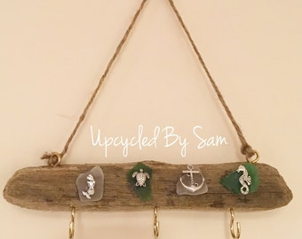 Driftwood and Seaglass Key Holder nautical homeware with charms home gift