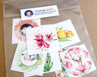 flower sticker set (7 stickers)