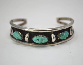 Vintage Turquoise Sterling Silver Cuff Bracelet - Handmade - Signed S.H. - Southwest