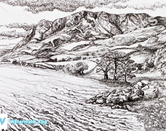 Lake District Mountains Pen And Ink Illustration Print