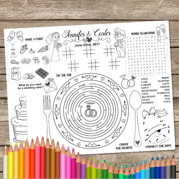 Printable wedding table mat kids activity placemat wedding like this item ccuart Choice Image