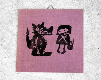 Original linocut little Red Riding Hood and the Wolf