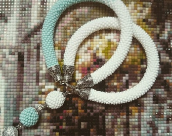 Bead Bracelet white mint ""