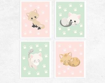 Kitten Art | Cute Kitten Printables | Set of 4 | Baby Art | Nursery Prints | Home Decor | Baby Gifts | Cat Printables