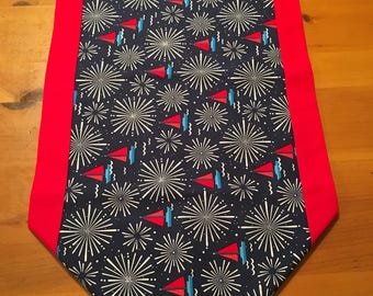 Table runner, sailboats, fireworks, patriotic