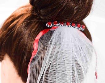 Rockabilly Stripe Red White or Black Ribbon Edged Bridal Veil