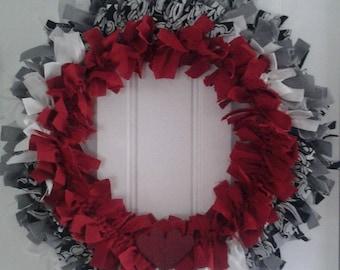 Two Hearts Fabric Wreath, Door wreath, Wreath for door, Front door wreath, Sale, 14 inch wreath, Red wreath, Fabric wreath,Wreath with heart