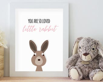 You Are So Loved Little Rabbit, 11x14 Digital Download Prints, Wall Art, Girl Nursery, Rabbit Nursery, Playroom, Arbor Grace Collections