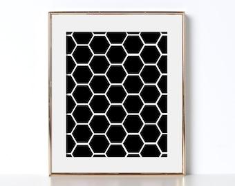 Bathroom Decor Ideas Digital Download Bathroom Decorating Ideas Printable Art Hexagon Poster Hexagon Prints Hexagon Art Black and White Art